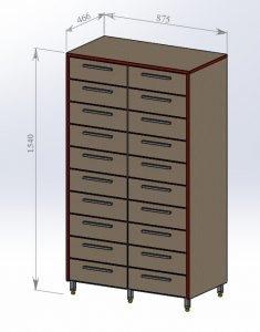 Шкаф архивный 2 столбика