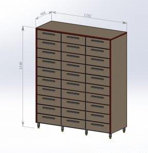 Шкаф архивный 3 столбика